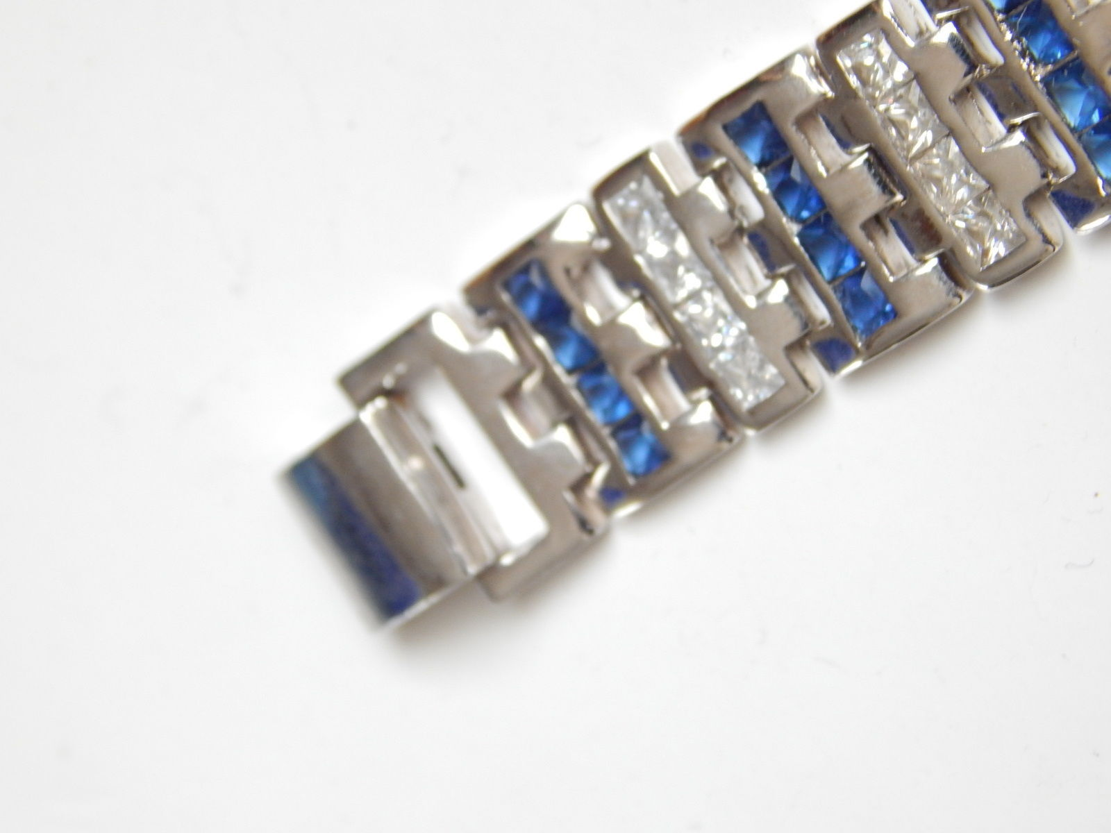 "New Men's Bracelet with Blue white CZ 9inch length 1/2"" wide image 3"