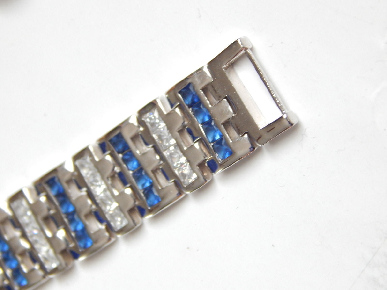 "New Men's Bracelet with Blue white CZ 9inch length 1/2"" wide image 4"