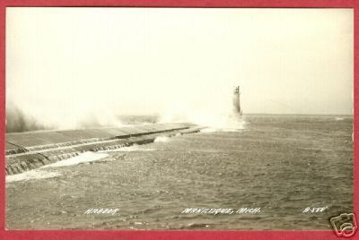 Manistique MI Postcard Lighthouse Pier Michigan RP BJs