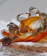 Vintage Orange Swirl Art Glass Bud Vases // Stretch Glass Hand Blown Art... - $20.00
