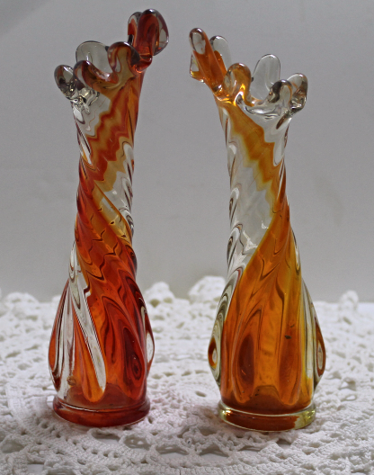 Vintage Orange Swirl Art Glass Bud Vases // Stretch Glass Hand Blown Art Glass