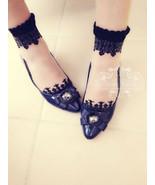 Japan Sheer Transparent Lace Short Socks Black baroque US6-9 liz lisa heel - $9.99