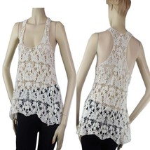 Cute Crochet VEST TANK TOP Embroider X-Back Casual Layering Shirt One Si... - $19.99