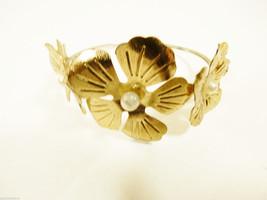 Pretty gold tone metam white pearl faux flower bangle bracelet - $20.79