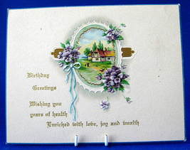 Gift Tag Birthday Greetings Cottage Violets Embossed From 1929 Antique G... - $6.00