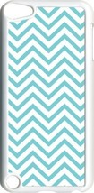 Aqua Blue Chevron Design on iPod Touch 5th Gen 5G White TPU Case Cover - $9.46