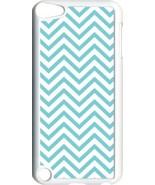 Aqua Blue Chevron Design on iPod Touch 5th Gen 5G White TPU Case Cover - $9.46