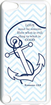 Chevron Faith Anchor Romans 12:9 Design on iPod Touch 5th Gen 5G White T... - $9.46
