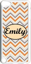 Monogrammed Multi Orange Chevron Design on iPod Touch 5th Gen 5G White T... - $11.26