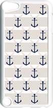 Light Gray and Navy Blue Anchor on iPod Touch 5th Gen 5G White TPU Case ... - $9.46
