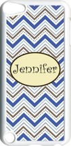 Monogrammed Multi Blue Chevron Design iPod Touch 5th Gen 5G White TPU Ca... - $11.26