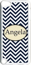 Monogrammed Navy Blue Chevron Design iPod Touch 5th Gen 5G White TPU Cas... - $11.26