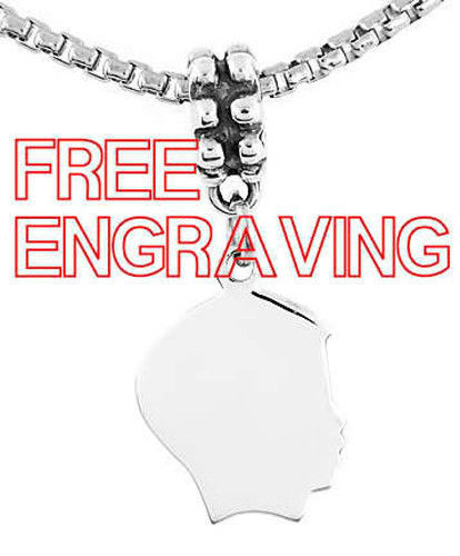 STERLING SILVER DANGLING BOY SILHOUETTE HEAD CHARM BEAD FREE ENGRAVE