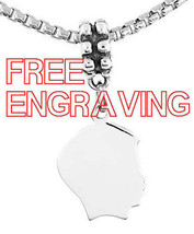 STERLING SILVER DANGLING BOY SILHOUETTE HEAD CHARM BEAD FREE ENGRAVE - $15.85