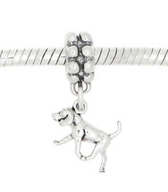 STERLING SILVER DANGLING TINY PUPPY AMERICAN FOXHOUND DOG EUROPEAN CHARM... - $18.27