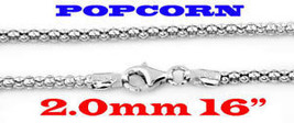 """STERLING SILVER ITALY POPCORN STYLE NECKLACE 16"""" 2mm - $28.48"""