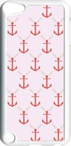 Pink and Red Anchor on iPod Touch 5th Gen 5G White TPU Case Cover - $9.46