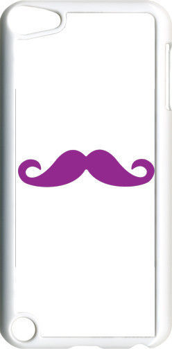 Plain White and Purple Mustache on iPod Touch 5th Gen 5G TPU Case Cover