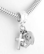 Silver Christian Cross Heart Anker  Faith Hope Charity - $20.62