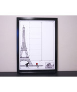 Paris Print Dry Erase Board Framed Weekly Menu Planner / Meal Planner Wh... - $89.95