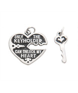 SILVER LOCKED HEART ONLY THE KEYHOLDER CAN UNLOCK MY HEART CHARM / PENDANT - $17.60