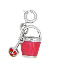 SILVER SAND BUCKET AND SHOVEL WITH ENAMEL AND RED STONES CHARM/PENDANT - £14.06 GBP
