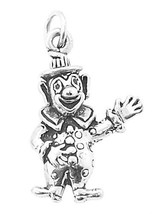 Sterling Silver 3 D Circus Comic Clown Waving Charm/Pendant - $12.50