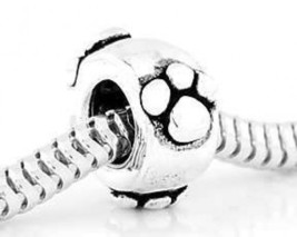 STERLING SILVER 925 PAW PRINTS EUROPEAN SPACER BEAD - $12.70