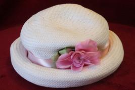 Girls White Straw Summer Sun Hat with Pink Ribbon - 55cm - $12.99