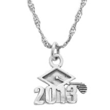 Sterling Silver Class Of 2013 Cap Charm With Thin Singapore Chain Necklace - $18.69+