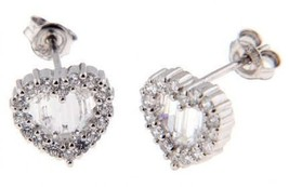 Sterling Silver Cubic Zirconia Heart Cut Stud Earrings - $16.45