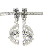 STERLING SILVER DANGLE FILIGREE BIG SIS LIL SIS HEART EUROPEAN  BEAD CHARMS - $23.80