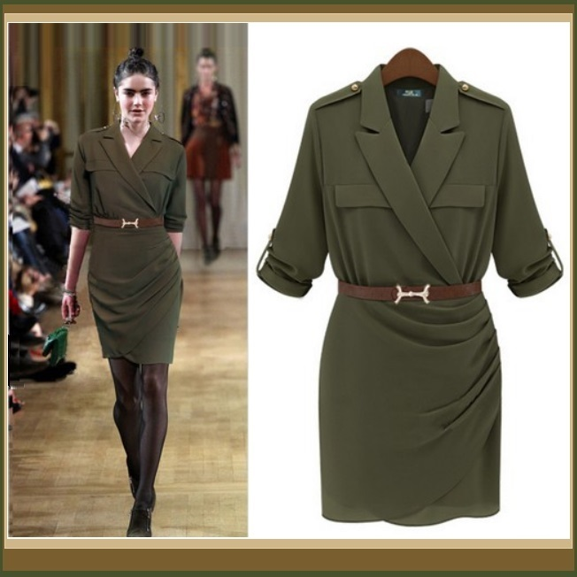 Double Breasted Big Lapel Sexy Military Style Sheath Suit Dress with Belt