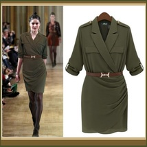 Double Breasted Big Lapel Sexy Military Style Sheath Suit Dress with Belt - $86.95