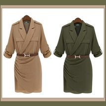 Double Breasted Big Lapel Sexy Military Style Sheath Suit Dress with Belt image 2