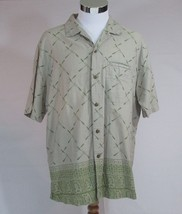 Men's Woolrich Hawaiian Camp Shirt Sz Large 100% Cotton Multi-Color Green - $8.59