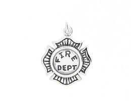 STERLING SILVER FIRE DEPARTMENT MALTESE CROSS SEAL CHARM OR PENDANT - $12.30