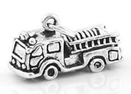 STERLING SILVER FIRE TRUCK 3D CHARM/PENDANT - $13.01