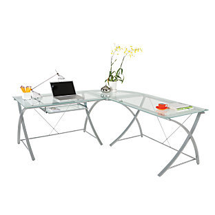 Realspace Zentra Collection L Desk Silver Clear 572293