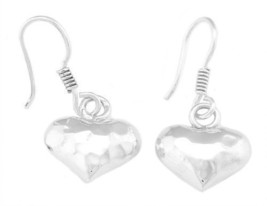 Sterling Silver Hammered Heart Dangle Earrings - $22.40