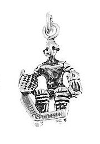 STERLING SILVER HOCKEY GOALIE  CHARM/PENDANT