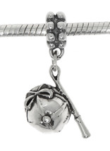 STERLING SILVER HORSE RACING GEAR JOCKEY HAT AND WHIP DANGLE EUROPEAN BE... - $20.62