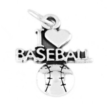 "STERLING SILVER I LOVE BASEBALL CHARM W/ 16"" BOX CHAIN - $15.29"