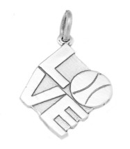 STERLING SILVER I LOVE TENNIS WITH TENNIS BALL CHARM - $13.77