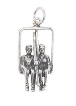 STERLING SILVER LARGE SKI LIFT WITH SKIERS CHARM/PENDANT - $17.63