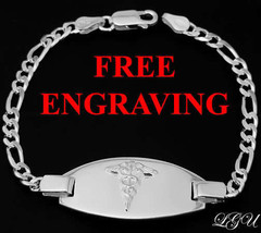 "STERLING SILVER MEDICAL ID BRACELET 8"" FREE ENGRAVE PERSONALIZATION - $69.15"
