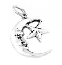 "STERLING SILVER MOON WITH STAR CHARM WITH 16"" BOX CHAIN - $14.41"