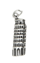 STERLING SILVER ONE SIDED ITALY LEANING TOWER OF PISA CHARM/PENDANT - $10.82