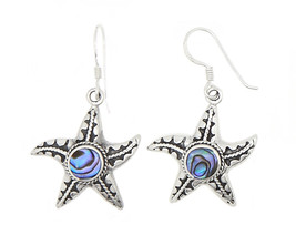 Sterling Silver One Sided Mother Of Pearl Centered Starfish Dangling Earrings - $28.04