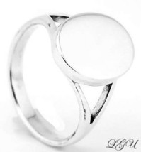 STERLING SILVER OVAL RING SIZE 9 FREE ENGRAVING - €24,80 EUR